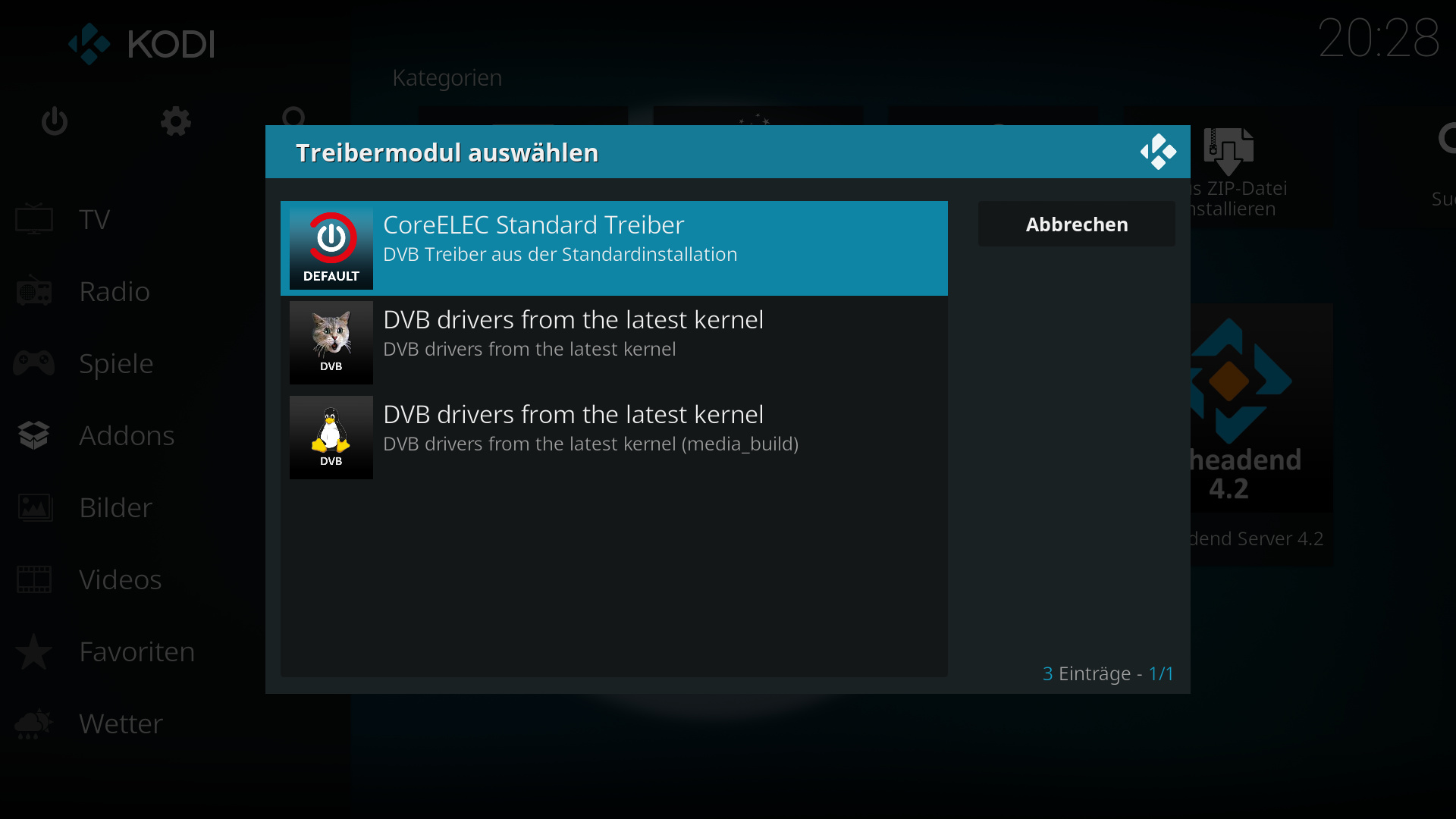 TVHeadend Server - KIII Pro Tuner not found - Tvheadend