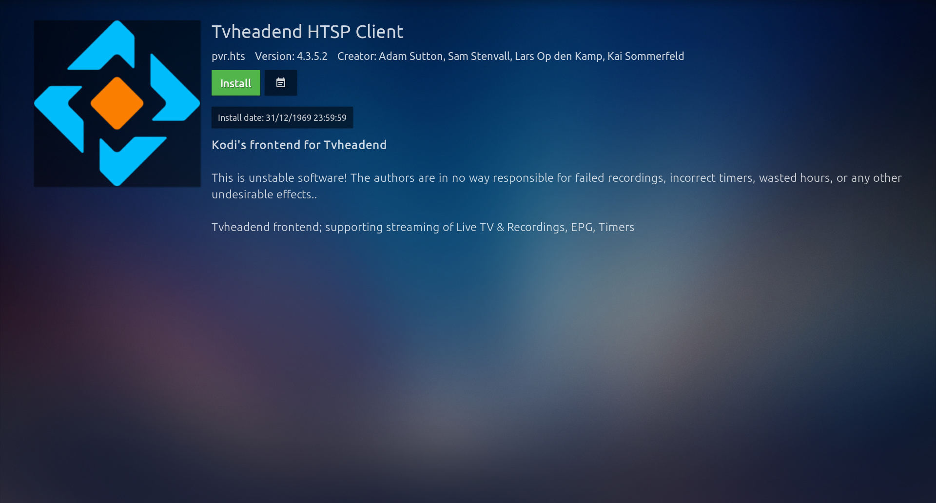 TVHeadend hstp client can't be loaded on CE 8 95 0